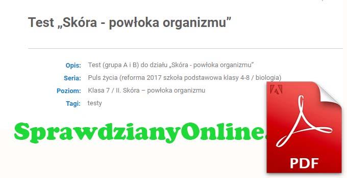 Skóra Powłoka Organizmu Sprawdzian Klasa 7 PDF